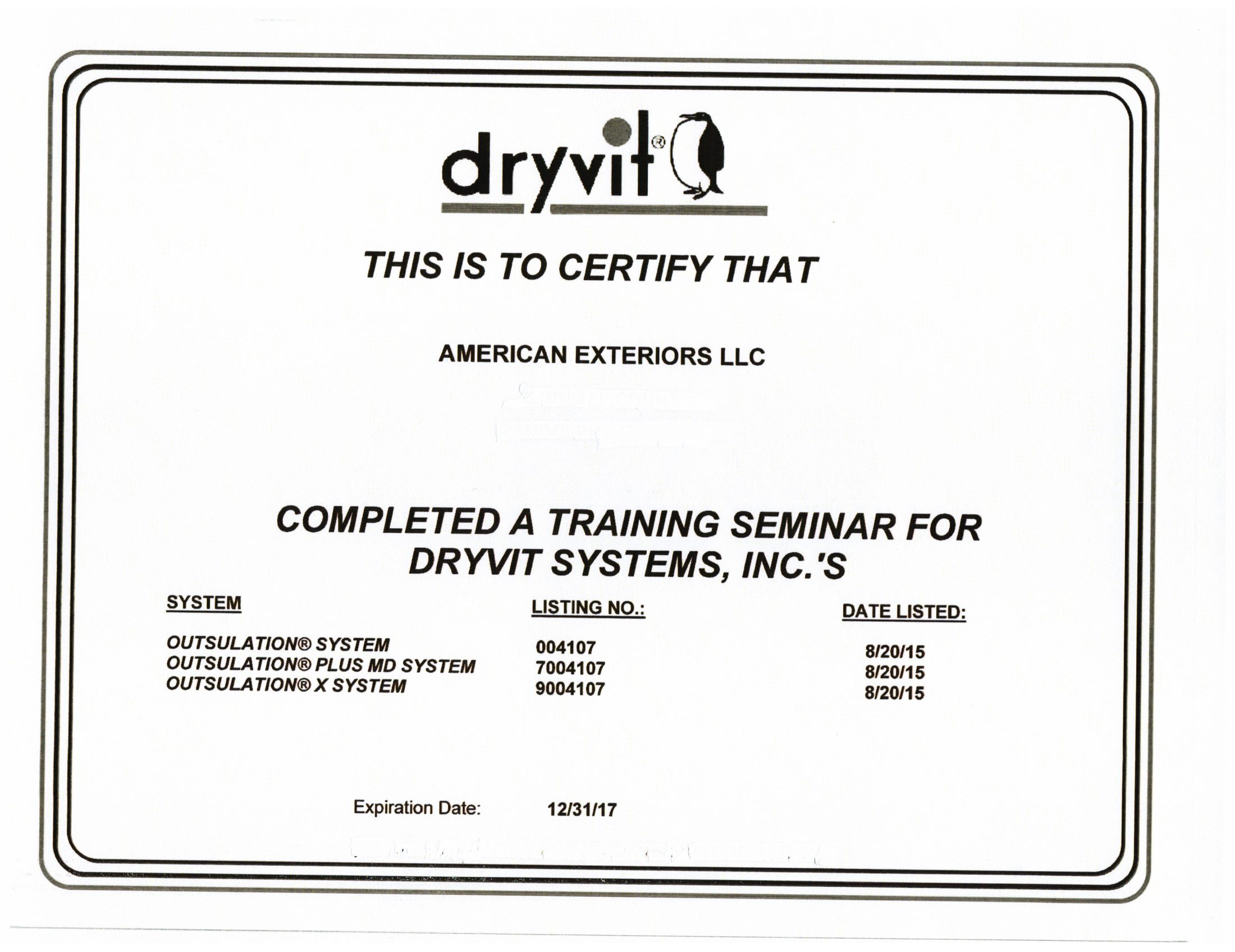 Certified Dryvit Installer