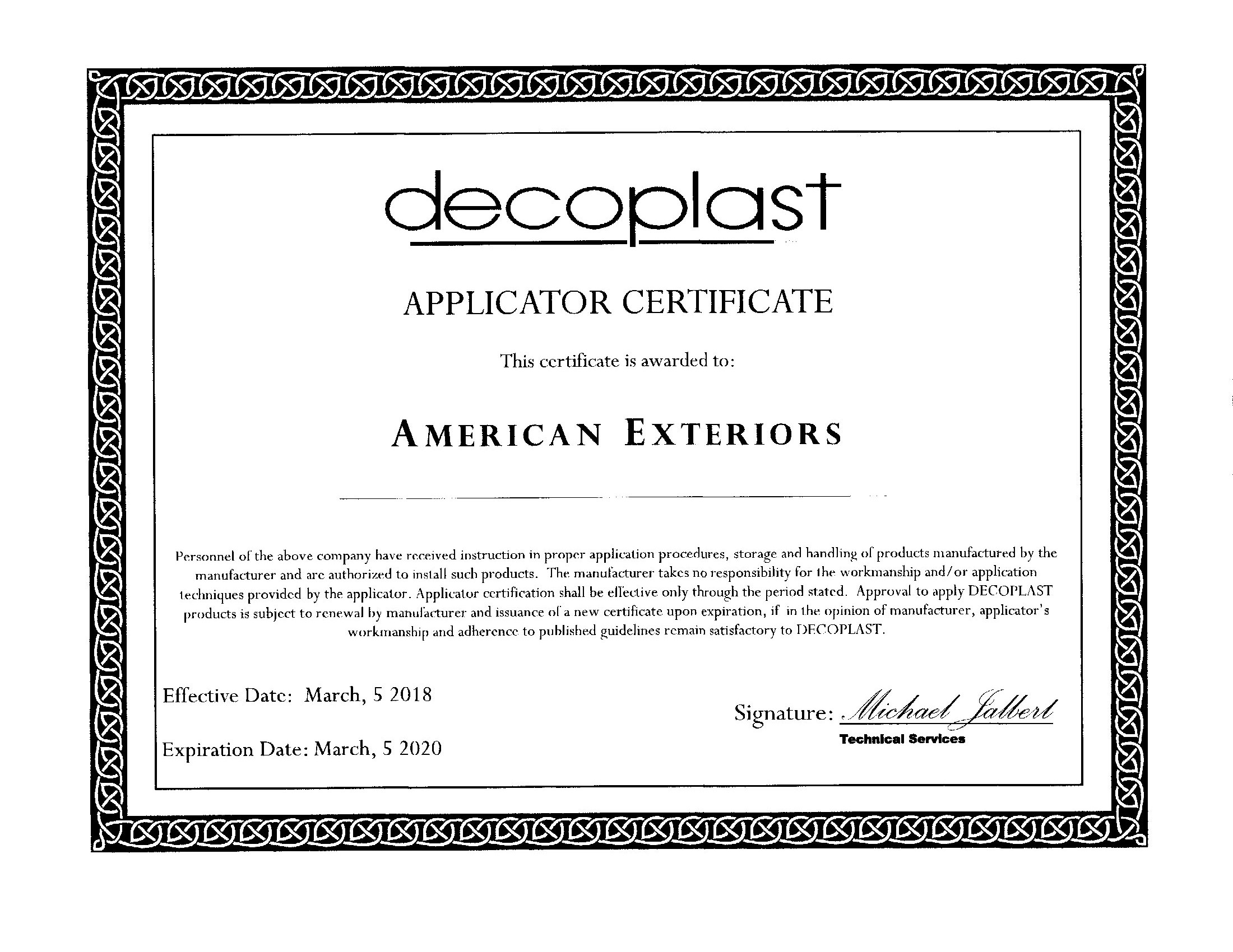 Decoplast Applicator Certificate