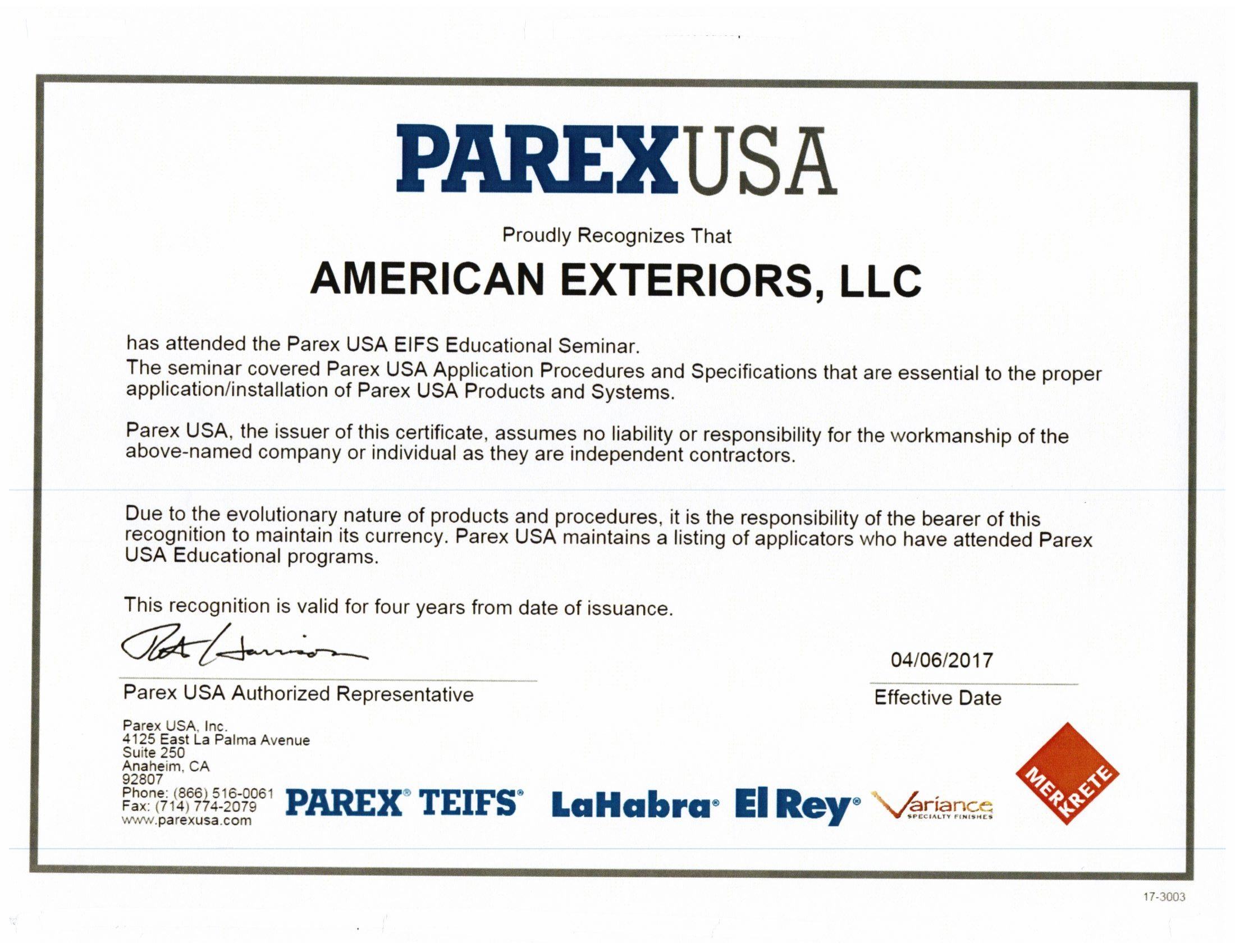 Certified Parex Installer