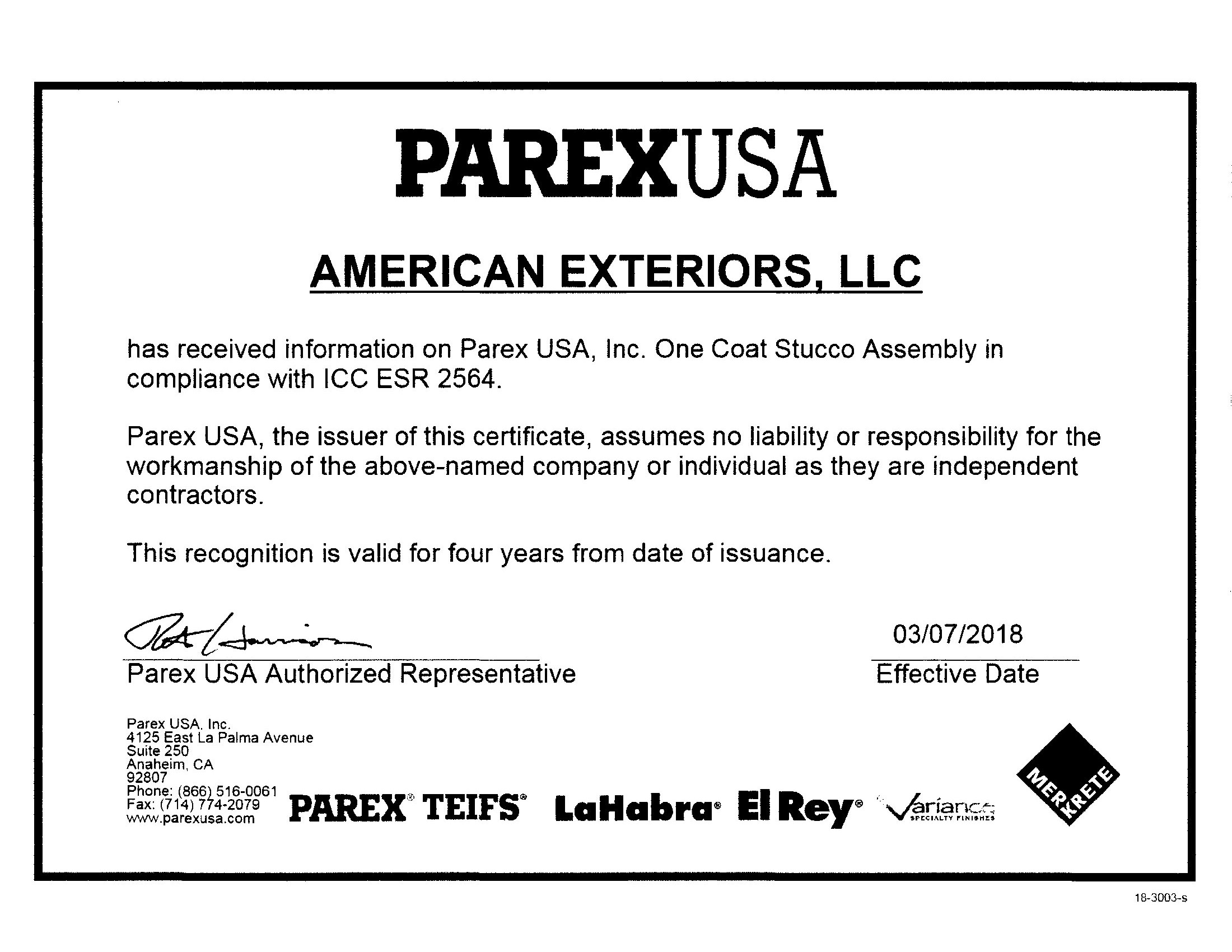 Parex Hard Coat Stucco Certficiate