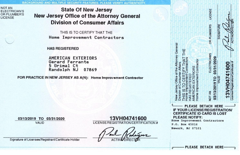 American Exteriors License 2019-2020