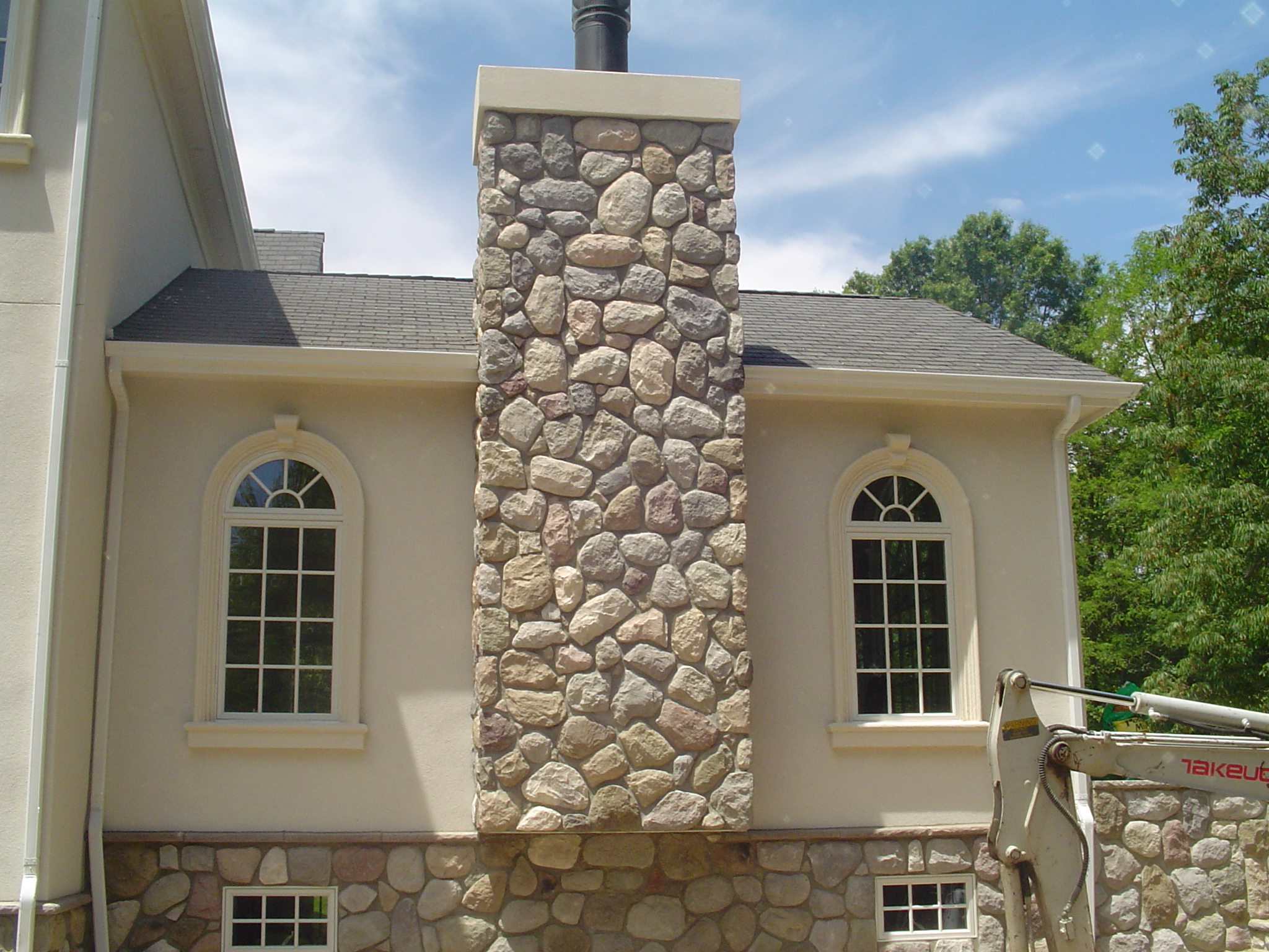 Custom home in Union County. Stone chimney.
