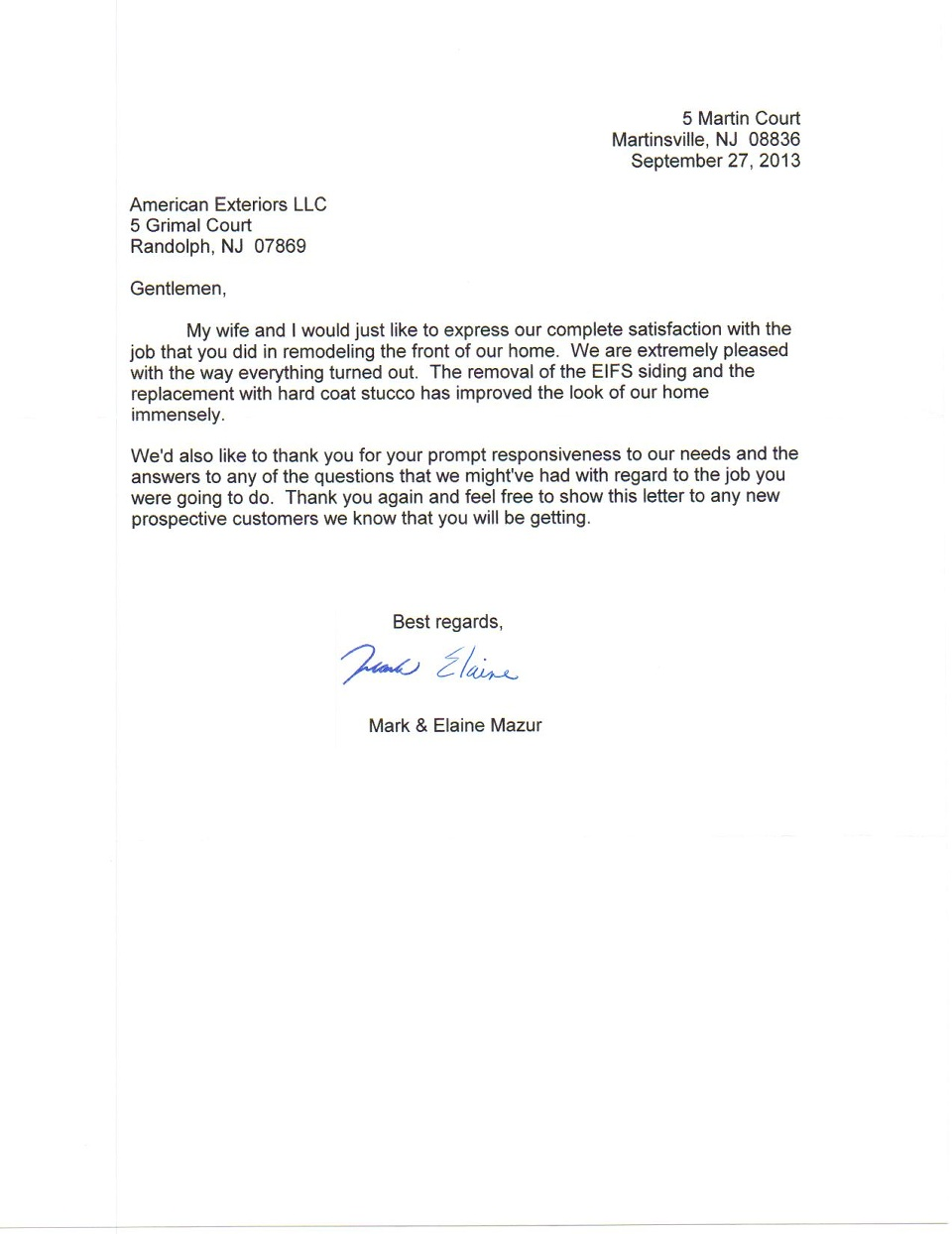 Letter of recommendation - Somerset County