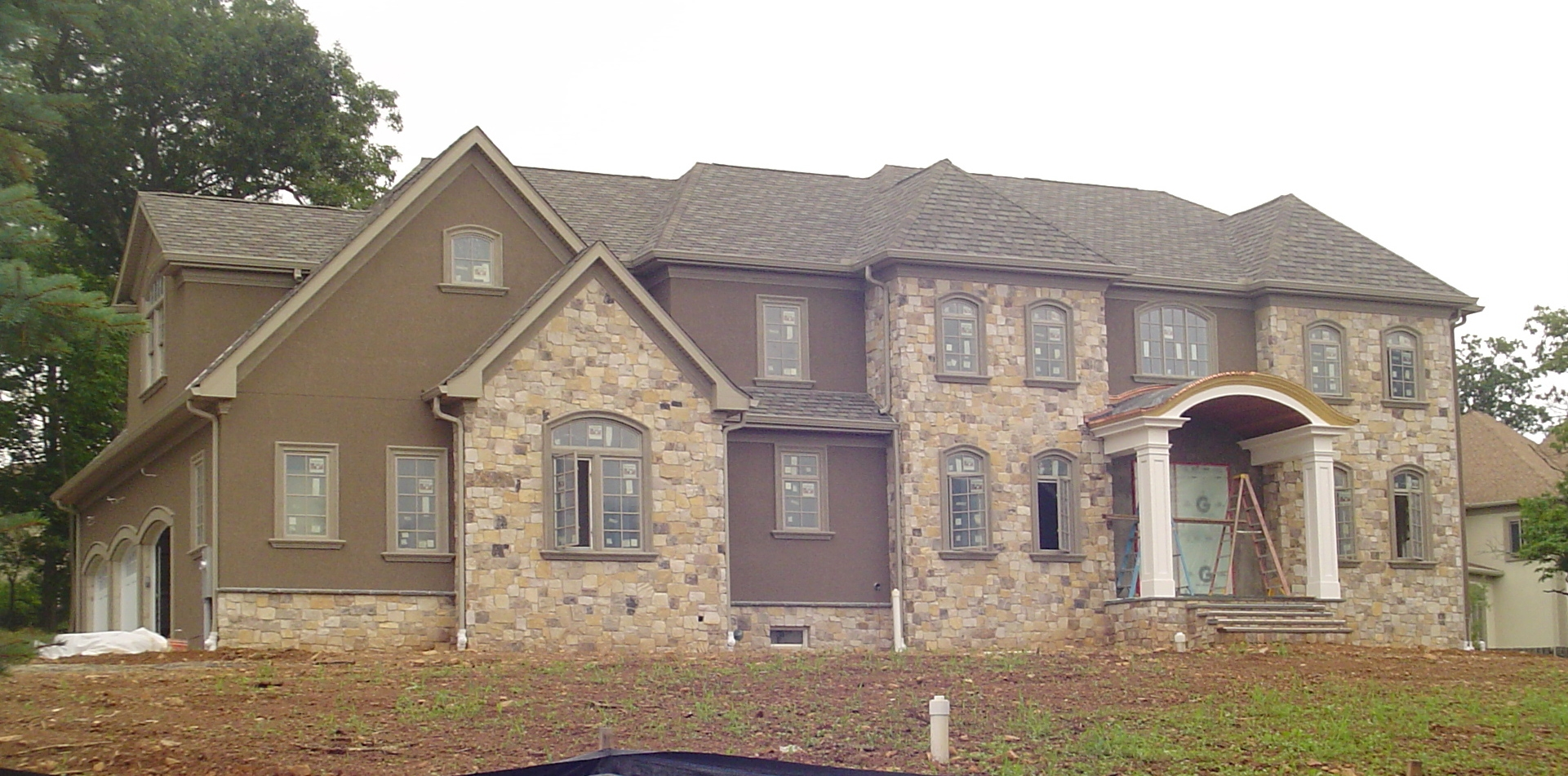 New Construction, hard coat stucco and stone, Warren, NJ