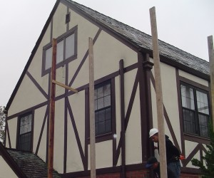 Rotted wood tudor board facade