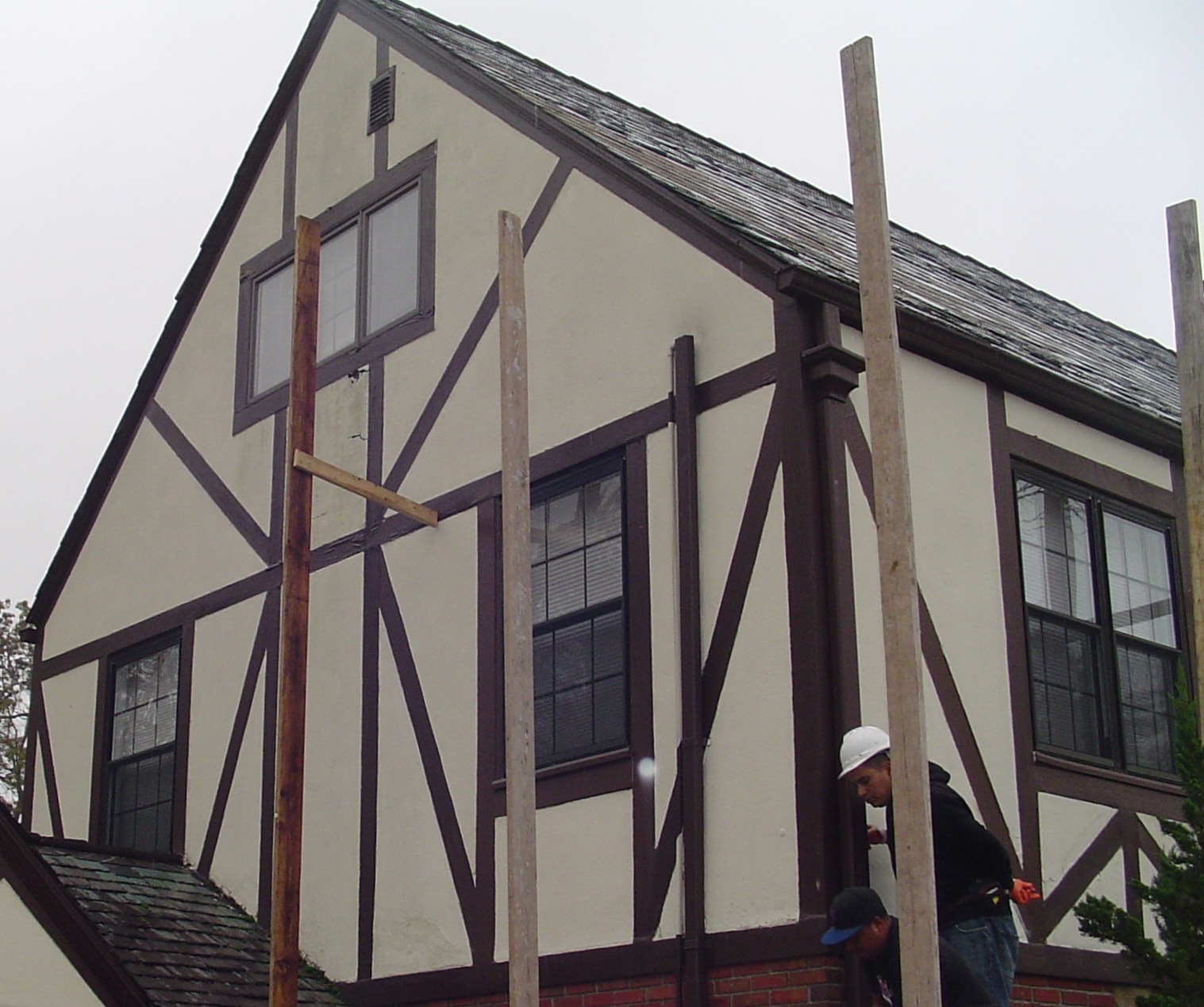 Rotted wood tudor board facade