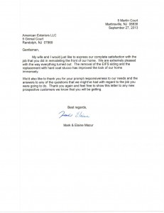 Letter of recommendation from satisfied customer!