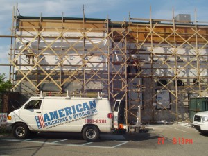 Remove old stucco and replace with new brickface on existing and new addition.