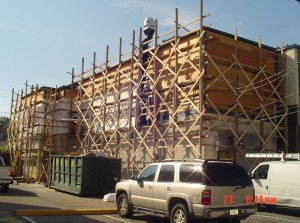 Scaffolding on commercial brickface project in Bergen County