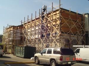 Scaffolding on commercial brickface project in Bergen County