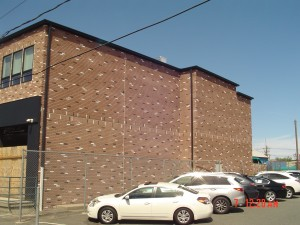 Brickface applied to commercial building